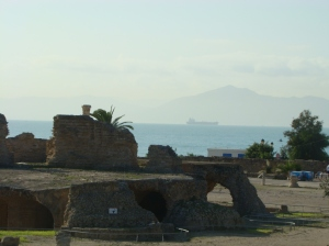 Ruins of second century Roman baths in Carthage with the Gulf of Tunis and the hills of Cape Bon in the background. (Photo taken by me October 27, 2009)