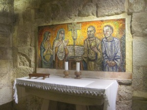 Modern altar in the cell of Saint Jerome underneath the Church of the Nativity in Bethlehem.  Saint Jerome did much of his work on the Vulgate here under the patronage of Pope Saint Damasus I, to whom he dedicated the work. (taken by me August 3, 2011)