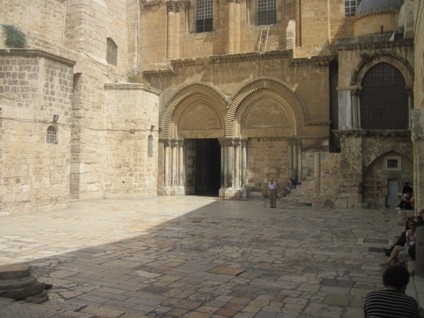 The Courtyard of the Church of the Holy Sepulcher that covers the ground where our Lord was crucified, died, and rose from the dead in Jerusalem (taken by me August 1, 2011).