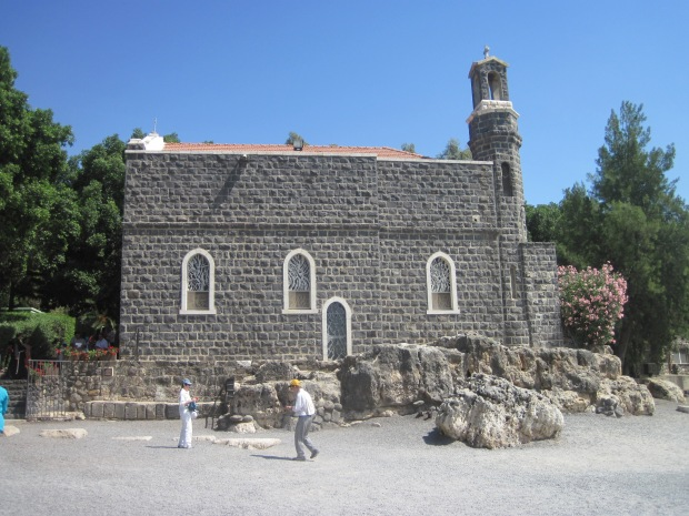 The Church of the Primacy of Peter at Tabgha.  It was here on the north shore of the Sea of Tiberias that the events recounted in John 21 took place: the second miraculous draught of fish, the meal by the lake, and the prophecy of Peter's destiny.