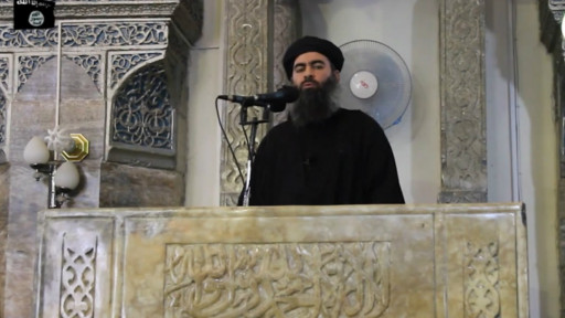 Abu Bakr al-Baghdadi addressing worshipers at a mosque in Mosul (http://www.bbc.co.uk/arabic/middleeast/2014/07/140705_iraq_security_retirement.shtml)